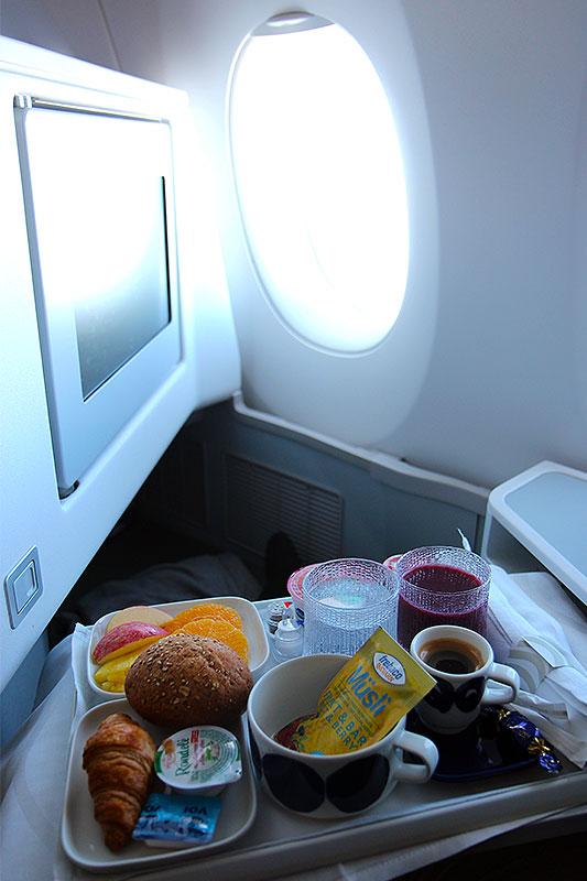 AY-Business-Class-HEL-PEK-light-breakfast