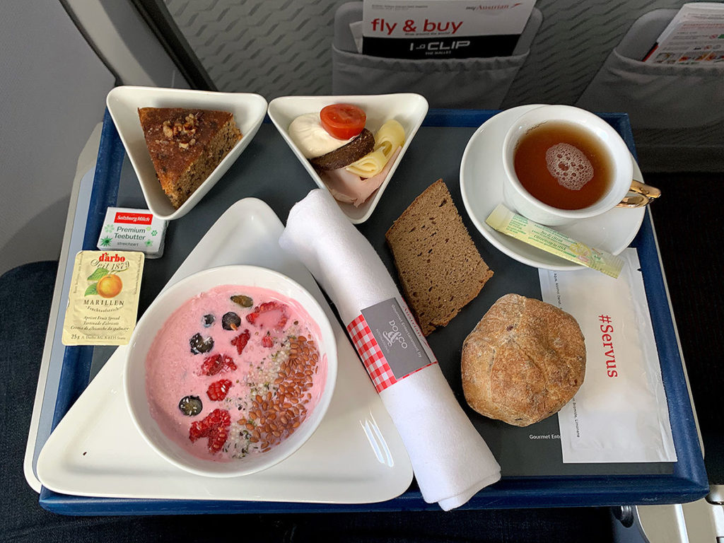 Austrian Airlines intra-Europa Business Class breakfast