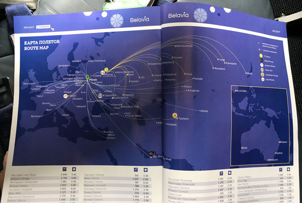 Belavia route map