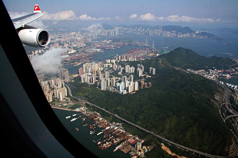 Indflyvning til Hong Kong, set fra sæde 1A