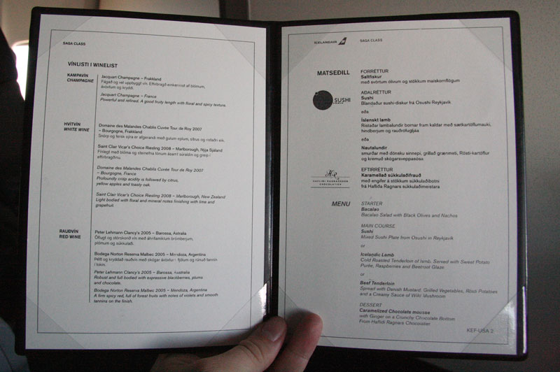 Icelandair-Saga Class- Boston Menu - foto Kenneth Karskov