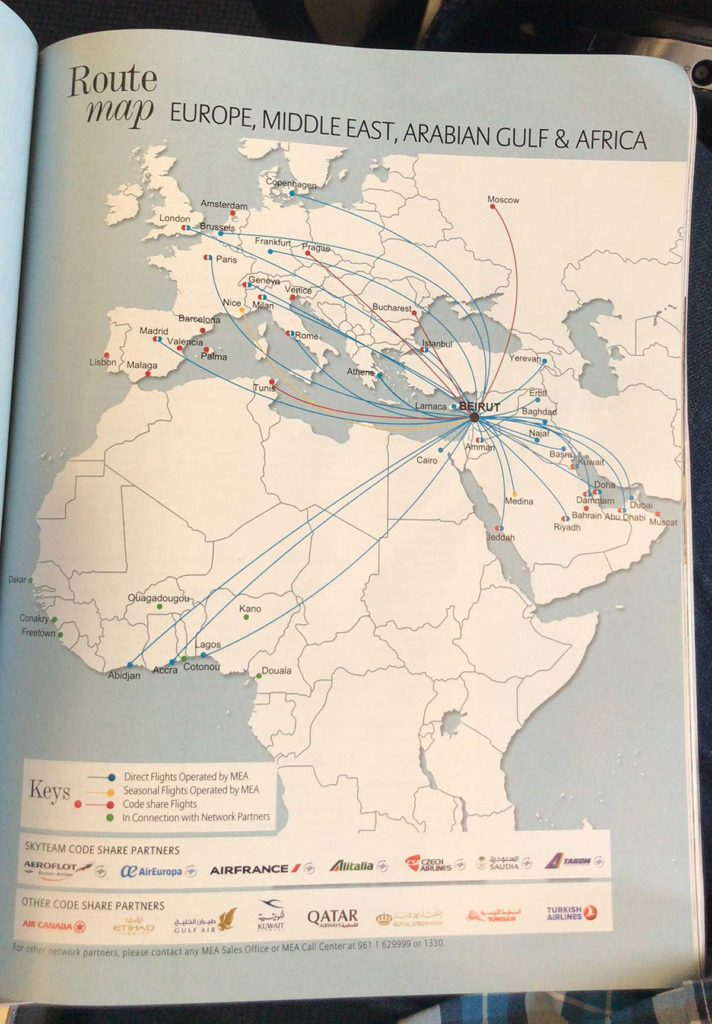 Middle East Airlines MEA route map