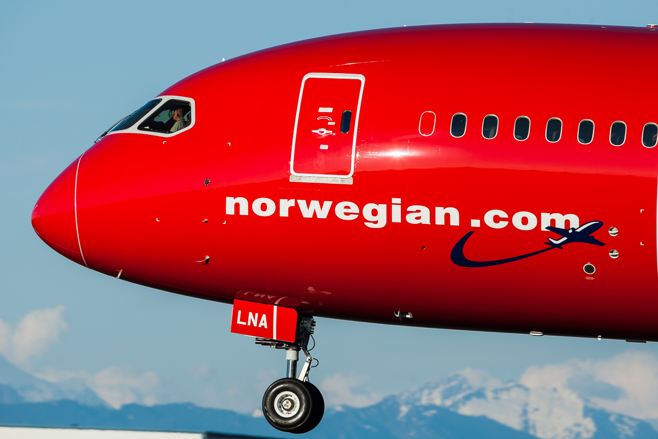 Snuden af et Norwegian Boeing 787 Dreamliner fly (foto: Chris Raezer at Boeing)