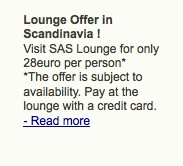 SAS lounge offer