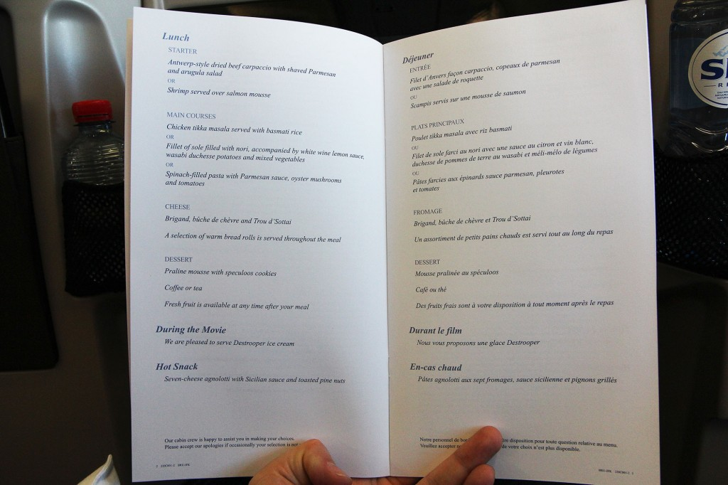 Brussels Airlines Business Class New York Menu