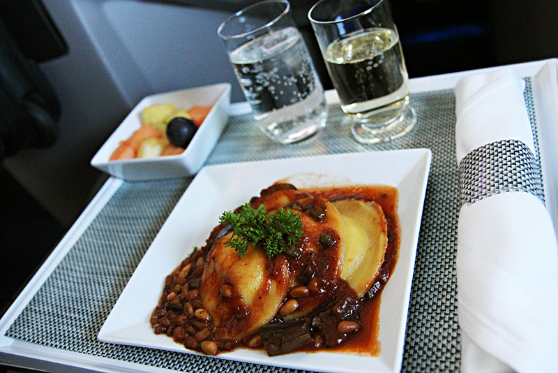 Brussels Airlines Business Class New York Hot Snack Agnolotti