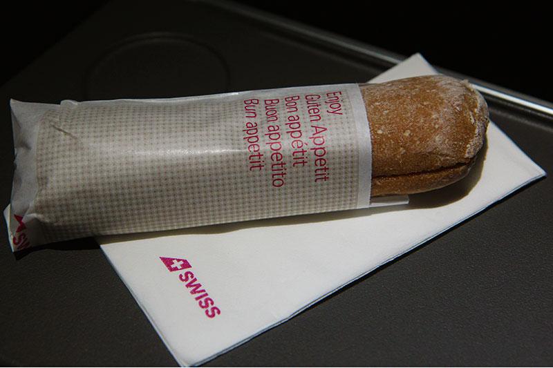 Sandwich på aftenafgangen med SWISS fra København til Zürich
