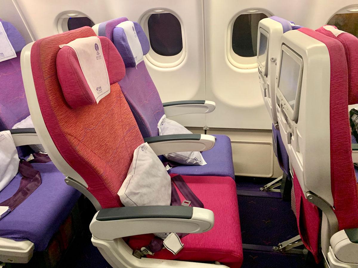 Economy Class på Thai Airways Airbus A330 flyet (foto: Kenneth Karskov)