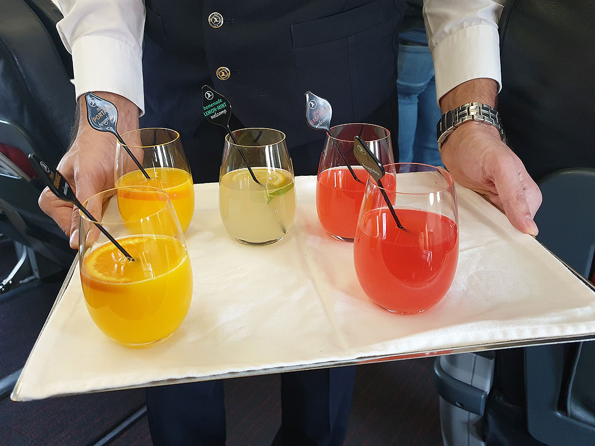 Turkish Airlines Business Class welcome drink